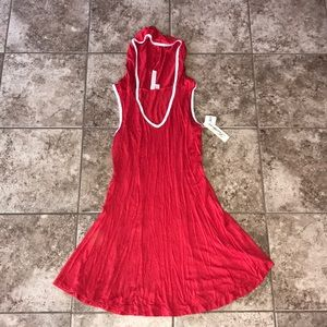 Feathers Red & White Dress With Hood Size M